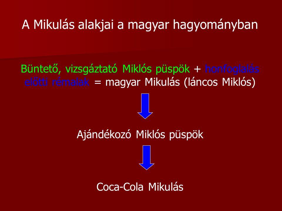 A Mikulás alakjai a magyar hagyományban Büntető, vizsgáztató Miklós püspök + honfoglalás előtti rémalak = magyar Mikulás (láncos Miklós) Ajándékozó Miklós püspök Coca-Cola Mikulás
