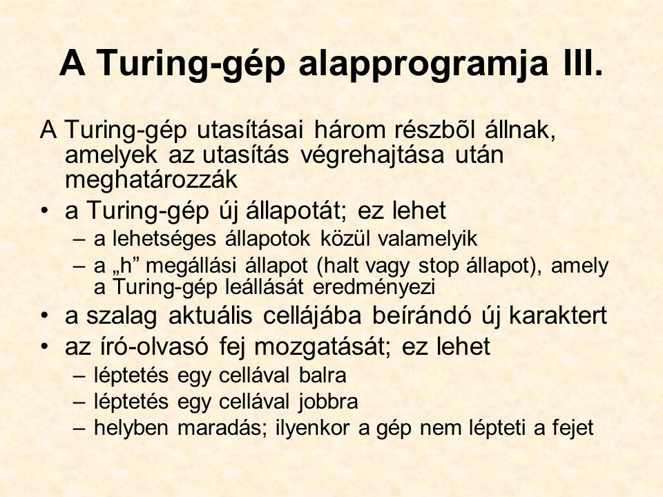 A Turing-gép alapprogramja III. A Turing-gép utasításai három részbõl állnak, amelyek az utasítás végrehajtása után meghatározzák a Turing-gép új álla