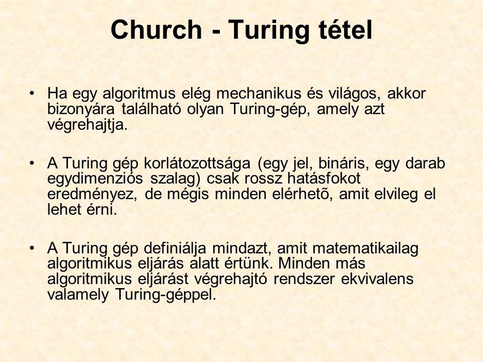 Church - Turing tétel Ha egy algoritmus elég mechanikus és világos, akkor bizonyára található olyan Turing-gép, amely azt végrehajtja. A Turing gép ko