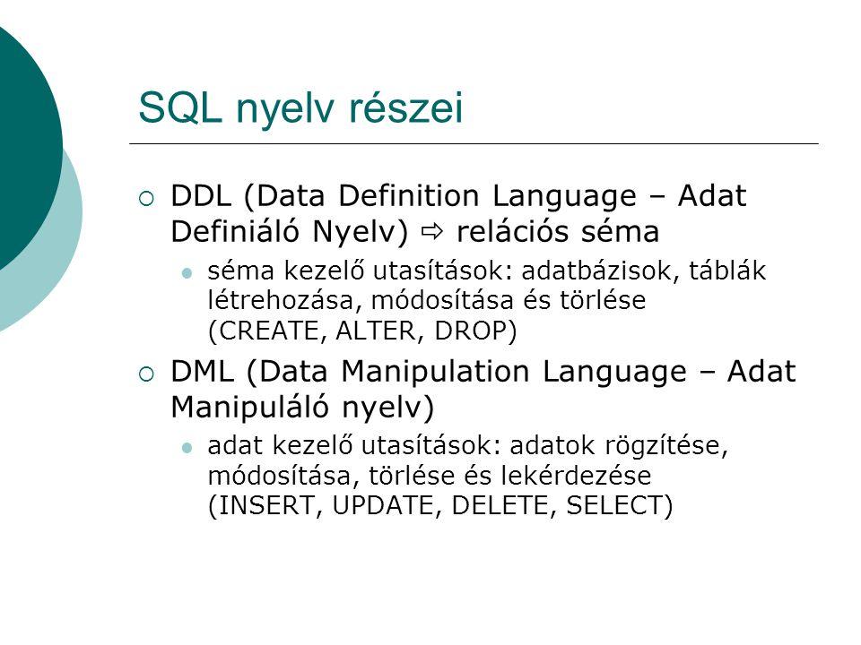 SQL nyelv részei  DDL (Data Definition Language – Adat Definiáló Nyelv)  relációs séma séma kezelő utasítások: adatbázisok, táblák létrehozása, módo