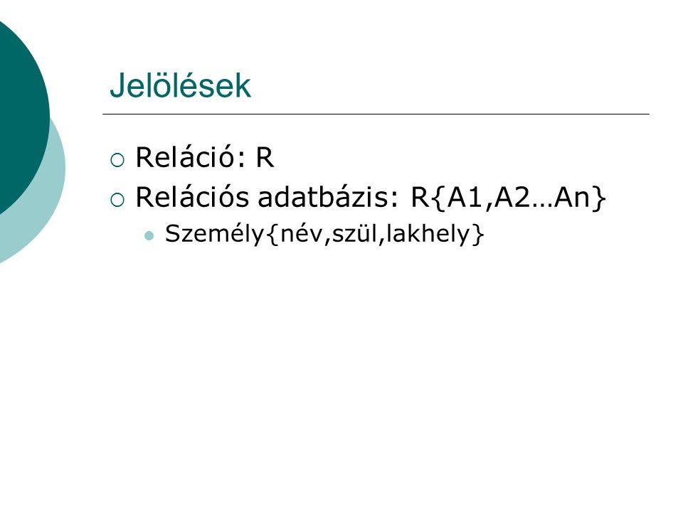 Jelölések  Reláció: R  Relációs adatbázis: R{A1,A2…An} Személy{név,szül,lakhely}