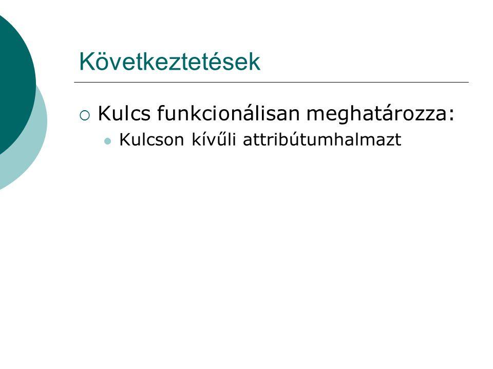 Következtetések  Kulcs funkcionálisan meghatározza: Kulcson kívűli attribútumhalmazt
