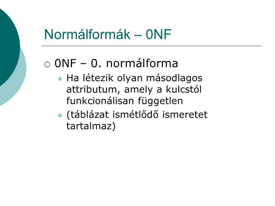 Normálformák – 0NF  0NF – 0. normálforma Ha létezik olyan másodlagos attributum, amely a kulcstól funkcionálisan független (táblázat ismétlődő ismere