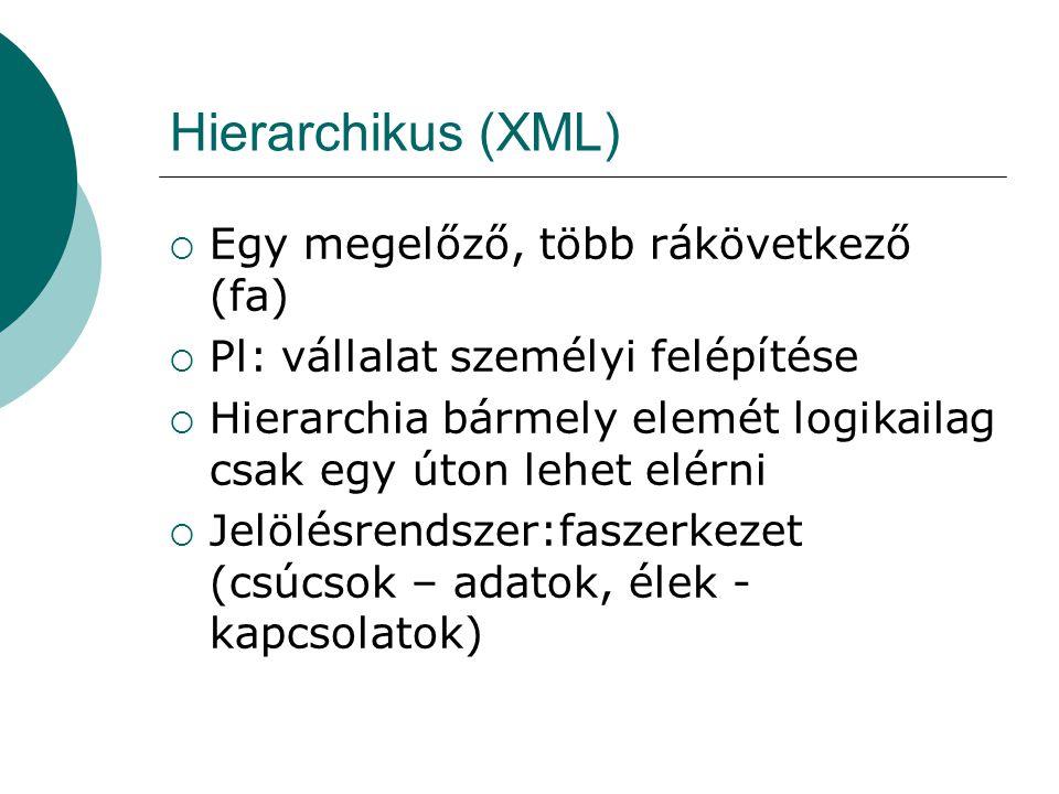 Hierarchikus (XML)  Egy megelőző, több rákövetkező (fa)  Pl: vállalat személyi felépítése  Hierarchia bármely elemét logikailag csak egy úton lehet