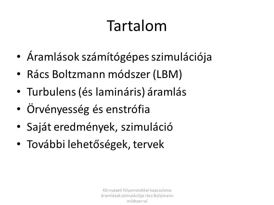 Tartalom Áramlások számítógépes szimulációja Rács Boltzmann módszer (LBM) Turbulens (és lamináris) áramlás Örvényesség és enstrófia Saját eredmények,