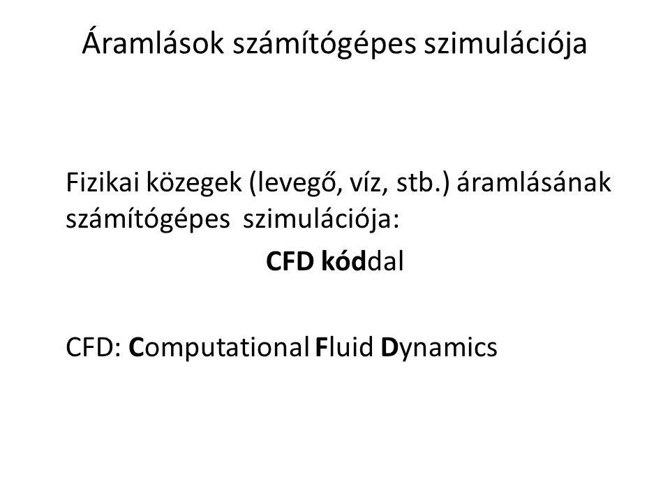 Áramlások számítógépes szimulációja Fizikai közegek (levegő, víz, stb.) áramlásának számítógépes szimulációja: CFD kóddal CFD: Computational Fluid Dyn