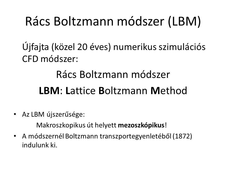 Rács Boltzmann módszer (LBM) Újfajta (közel 20 éves) numerikus szimulációs CFD módszer: Rács Boltzmann módszer LBM: Lattice Boltzmann Method Az LBM új