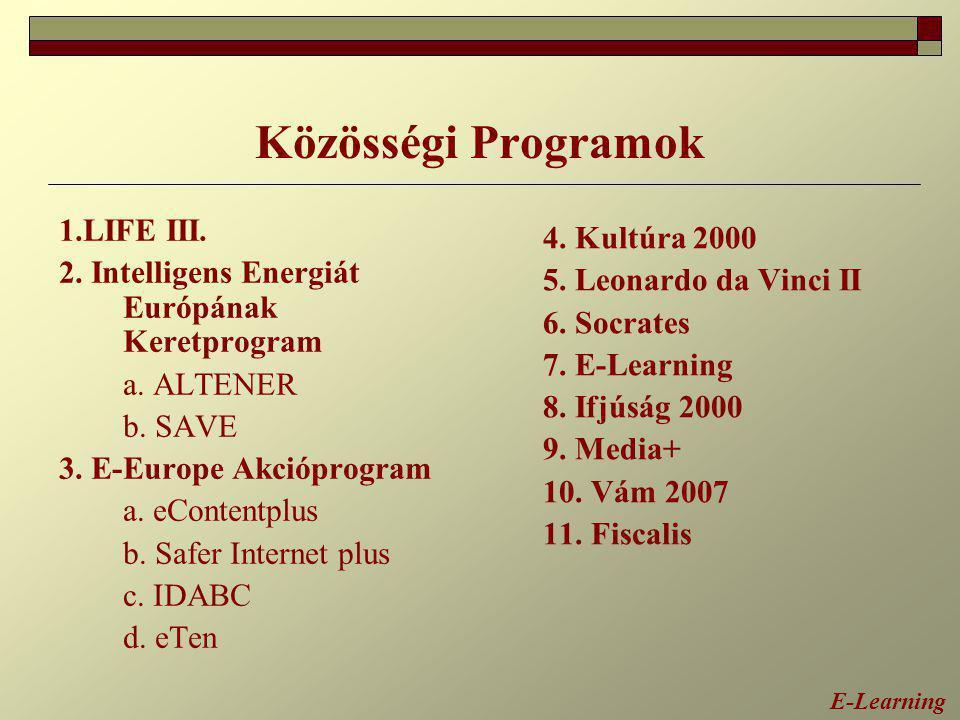 Közösségi Programok 1.LIFE III. 2. Intelligens Energiát Európának Keretprogram a. ALTENER b. SAVE 3. E-Europe Akcióprogram a. eContentplus b. Safer In