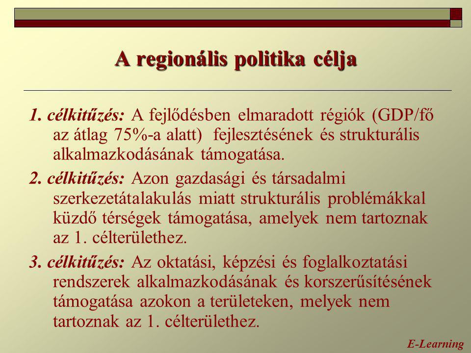 A regionális politika célja 1. célkitűzés: A fejlődésben elmaradott régiók (GDP/fő az átlag 75%-a alatt) fejlesztésének és strukturális alkalmazkodásá