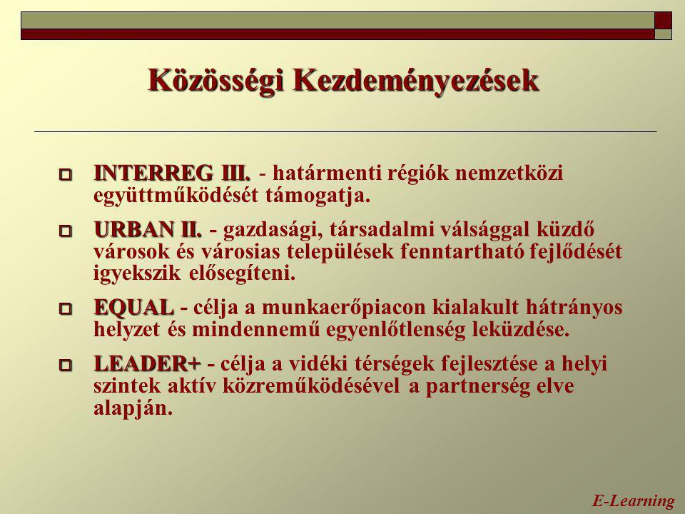 Közösségi Kezdeményezések  INTERREG III.  INTERREG III. - határmenti régiók nemzetközi együttműködését támogatja.  URBAN II.  URBAN II. - gazdaság
