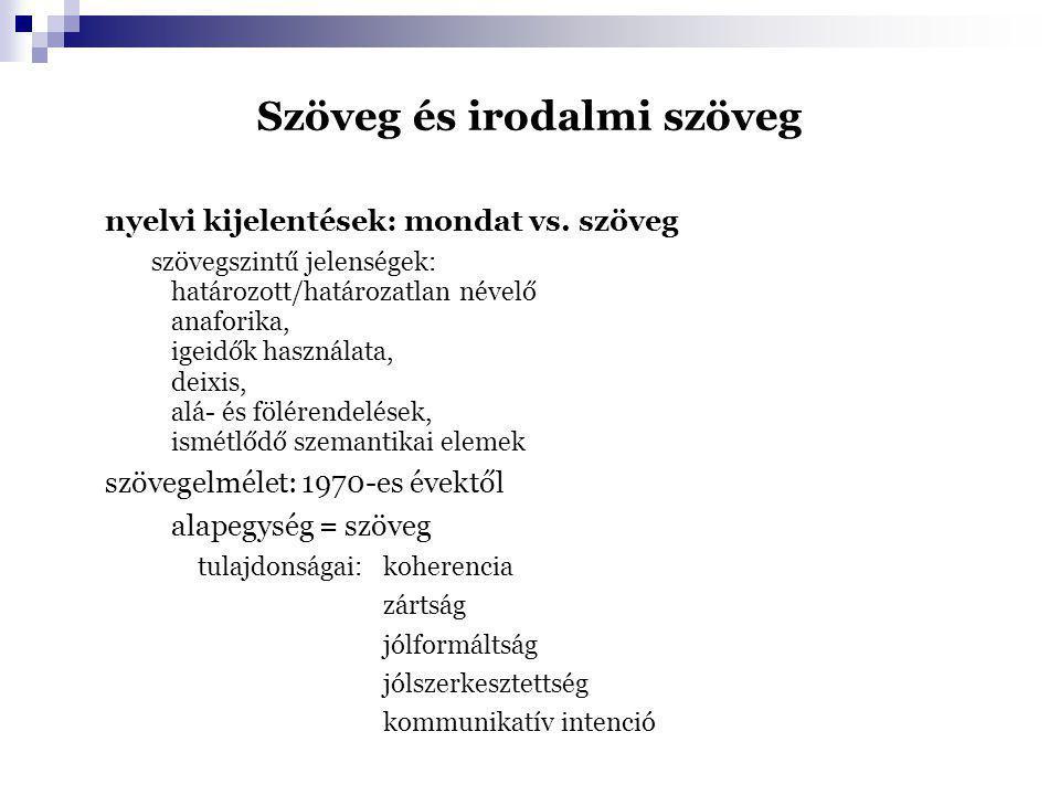 Szöveg és irodalmi szöveg nyelvi kijelentések: mondat vs. szöveg szövegszintű jelenségek: határozott/határozatlan névelő anaforika, igeidők használata