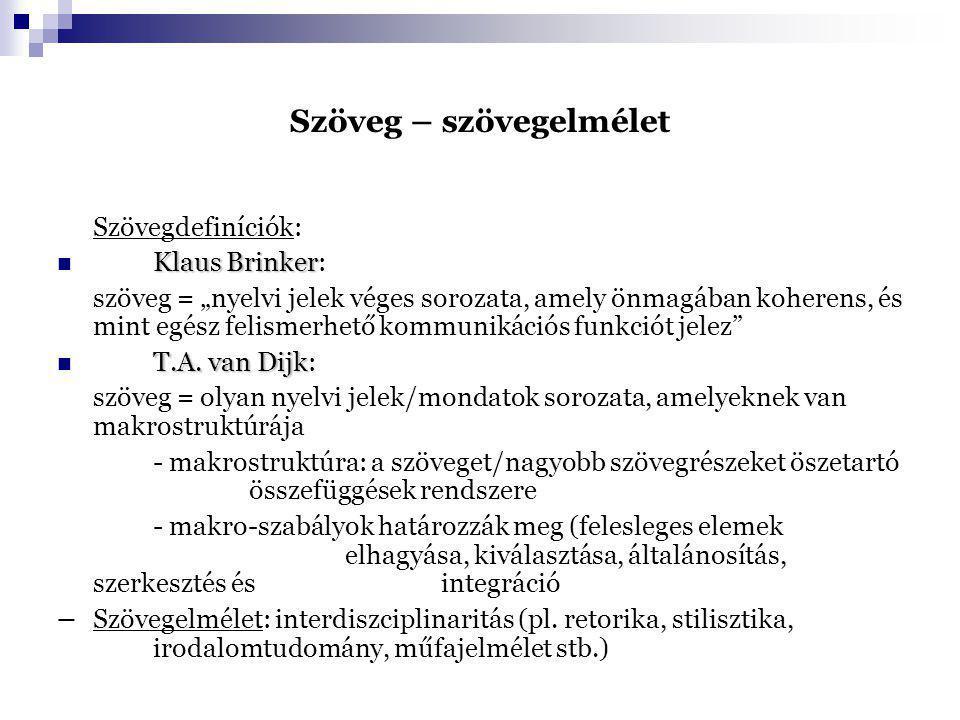 """Szöveg – szövegelmélet Szövegdefiníciók: Klaus Brinker Klaus Brinker: szöveg = """"nyelvi jelek véges sorozata, amely önmagában koherens, és mint egész f"""