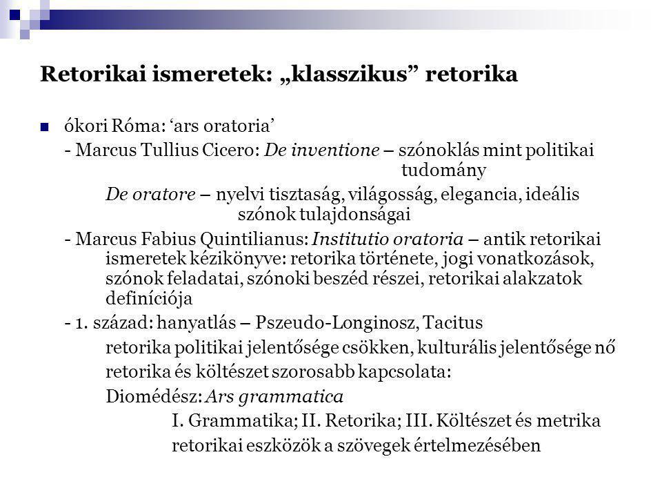"Retorikai ismeretek: ""klasszikus"" retorika ókori Róma: 'ars oratoria' - Marcus Tullius Cicero: De inventione – szónoklás mint politikai tudomány De or"