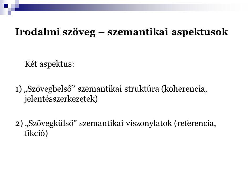 """Irodalmi szöveg – szemantikai aspektusok Két aspektus: 1) """"Szövegbelső szemantikai struktúra (koherencia, jelentésszerkezetek) 2) """"Szövegkülső szemantikai viszonylatok (referencia, fikció)"""