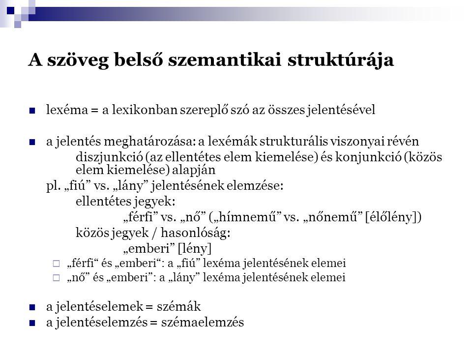 A szöveg belső szemantikai struktúrája lexéma = a lexikonban szereplő szó az összes jelentésével a jelentés meghatározása: a lexémák strukturális viszonyai révén diszjunkció (az ellentétes elem kiemelése) és konjunkció (közös elem kiemelése) alapján pl.