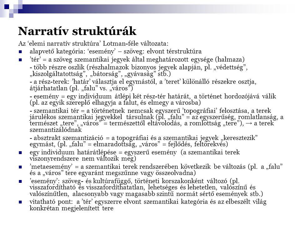 Narratív struktúrák Az 'elemi narratív struktúra' Lotman-féle változata: alapvető kategória: 'esemény' – szöveg: elvont térstruktúra 'tér' = a szöveg