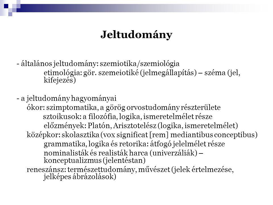 Jeltudomány - általános jeltudomány: szemiotika/szemiológia etimológia: gör. szemeiotiké (jelmegállapítás) – széma (jel, kifejezés) - a jeltudomány ha