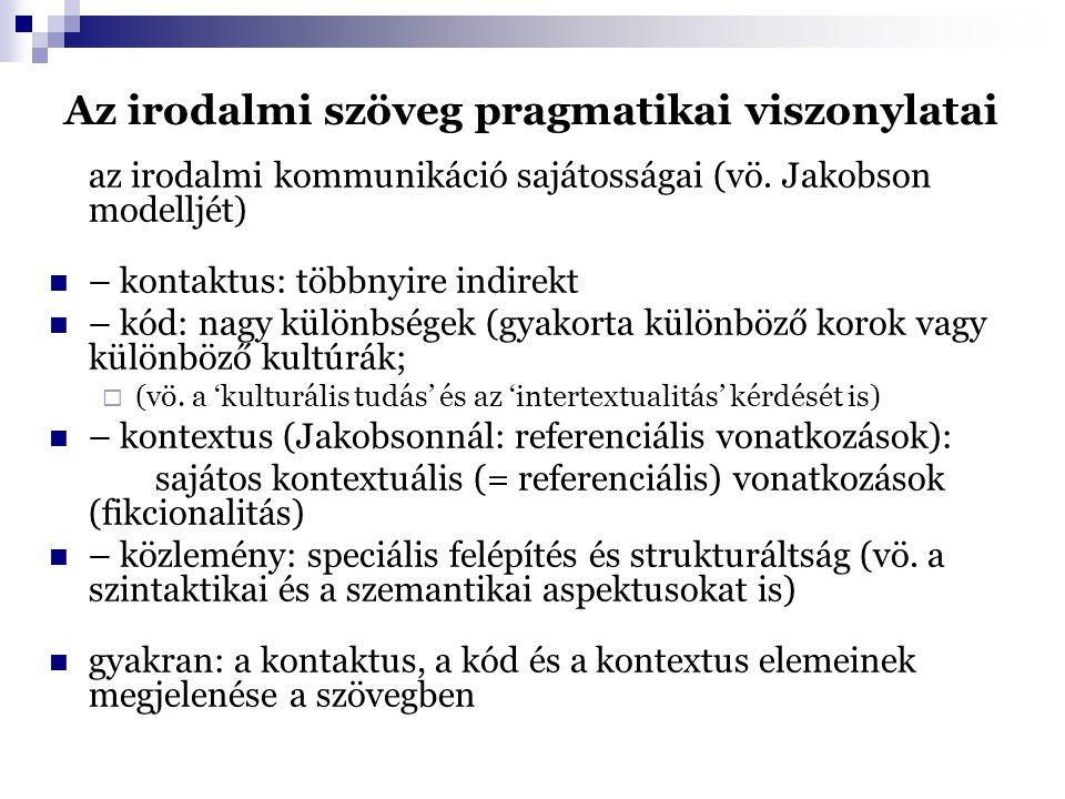 Az irodalmi szöveg pragmatikai viszonylatai az irodalmi kommunikáció sajátosságai (vö.