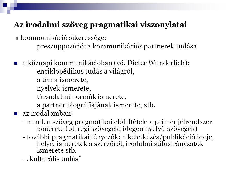 Az irodalmi szöveg pragmatikai viszonylatai a kommunikáció sikeressége: preszuppozíció: a kommunikációs partnerek tudása a köznapi kommunikációban (vö.