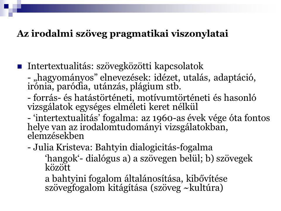 """Az irodalmi szöveg pragmatikai viszonylatai Intertextualitás: szövegközötti kapcsolatok - """"hagyományos elnevezések: idézet, utalás, adaptáció, irónia, paródia, utánzás, plágium stb."""