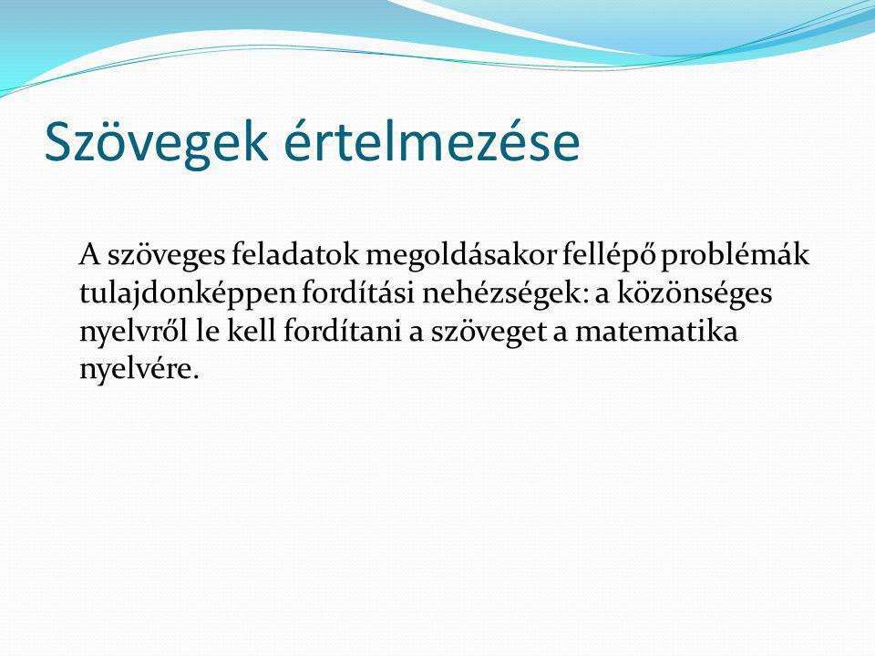 Szövegek értelmezése A szöveges feladatok megoldásakor fellépő problémák tulajdonképpen fordítási nehézségek: a közönséges nyelvről le kell fordítani a szöveget a matematika nyelvére.