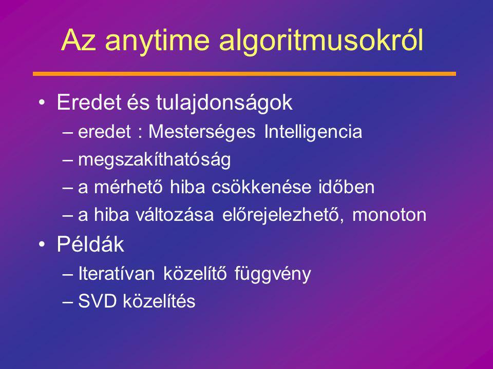 Az anytime algoritmusokról Eredet és tulajdonságok –eredet : Mesterséges Intelligencia –megszakíthatóság –a mérhető hiba csökkenése időben –a hiba változása előrejelezhető, monoton Példák –Iteratívan közelítő függvény –SVD közelítés