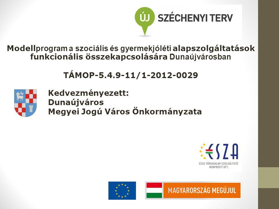 Modell program a szociális és gyermekjóléti alapszolgáltatások funkcionális összekapcsolására Dunaújvárosban TÁMOP-5.4.9-11/1-2012-0029 Kedvezményezett: Dunaújváros Megyei Jogú Város Önkormányzata