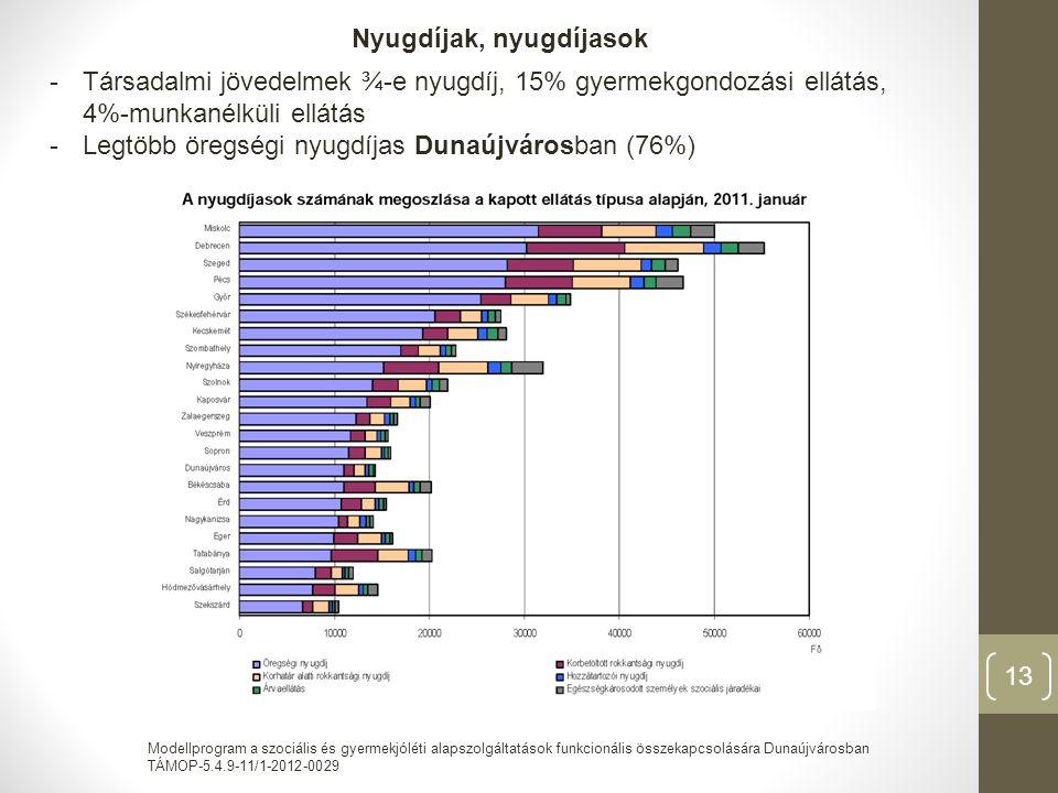 Modellprogram a szociális és gyermekjóléti alapszolgáltatások funkcionális összekapcsolására Dunaújvárosban TÁMOP-5.4.9-11/1-2012-0029 13 Nyugdíjak, nyugdíjasok -Társadalmi jövedelmek ¾-e nyugdíj, 15% gyermekgondozási ellátás, 4%-munkanélküli ellátás -Legtöbb öregségi nyugdíjas Dunaújvárosban (76%)
