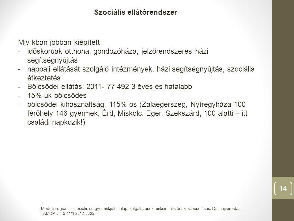 Modellprogram a szociális és gyermekjóléti alapszolgáltatások funkcionális összekapcsolására Dunaújvárosban TÁMOP-5.4.9-11/1-2012-0029 14 Szociális ellátórendszer Mjv-kban jobban kiépített -időskorúak otthona, gondozóháza, jelzőrendszeres házi segítségnyújtás -nappali ellátását szolgáló intézmények, házi segítségnyújtás, szociális étkeztetés -Bölcsődei ellátás: 2011- 77 492 3 éves és fiatalabb -15%-uk bölcsődés -bölcsődei kihasználtság: 115%-os (Zalaegerszeg, Nyíregyháza 100 férőhely 146 gyermek; Érd, Miskolc, Eger, Szekszárd, 100 alatti – itt családi napközik!)