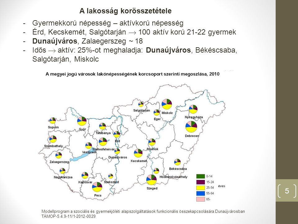 Modellprogram a szociális és gyermekjóléti alapszolgáltatások funkcionális összekapcsolására Dunaújvárosban TÁMOP-5.4.9-11/1-2012-0029 5 A lakosság korösszetétele -Gyermekkorú népesség – aktívkorú népesség -Érd, Kecskemét, Salgótarján  100 aktív korú 21-22 gyermek -Dunaújváros, Zalaegerszeg  18 -Idős  aktív: 25%-ot meghaladja: Dunaújváros, Békéscsaba, Salgótarján, Miskolc