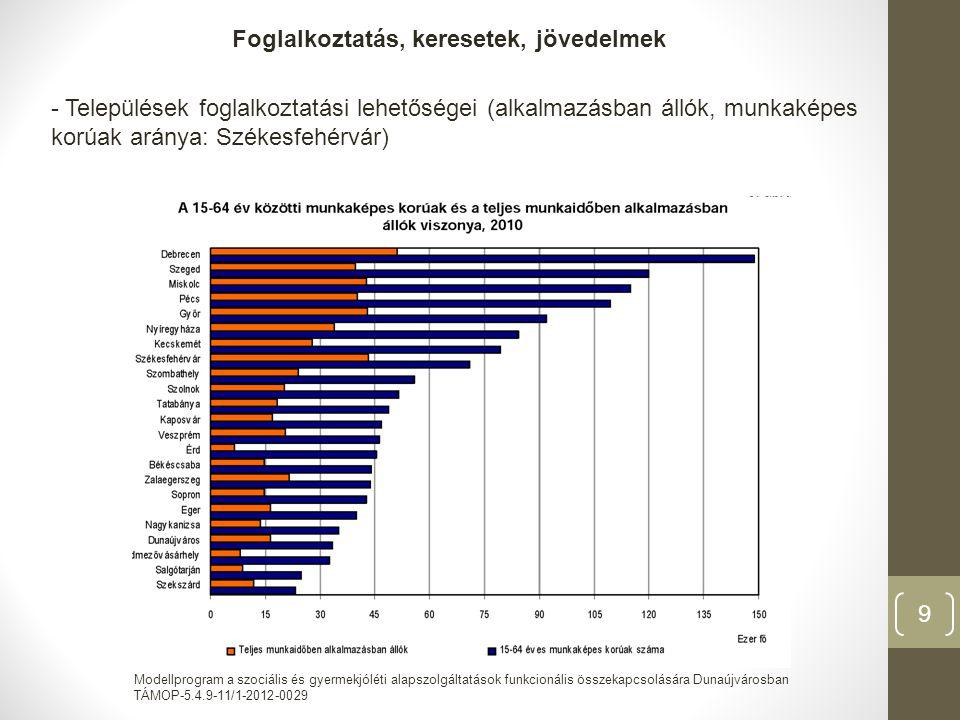 Modellprogram a szociális és gyermekjóléti alapszolgáltatások funkcionális összekapcsolására Dunaújvárosban TÁMOP-5.4.9-11/1-2012-0029 10 -Foglalkoztatottság, gazdasági ágak szerint: földrajzi helyzet, eltérő gazdasági adottságok -Mezőgazdaság a legalacsonyabb, ipari foglalkoztatottak: Dunaújváros