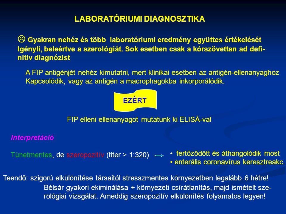 LABORATÓRIUMI DIAGNOSZTIKA  Gyakran nehéz és több laboratóriumi eredmény együttes értékelését Igényli, beleértve a szerológiát. Sok esetben csak a kó