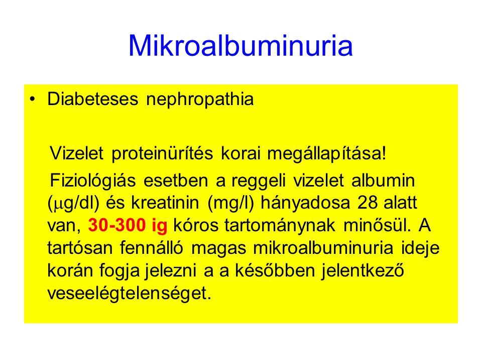 Mikroalbuminuria Diabeteses nephropathia Vizelet proteinürítés korai megállapítása.