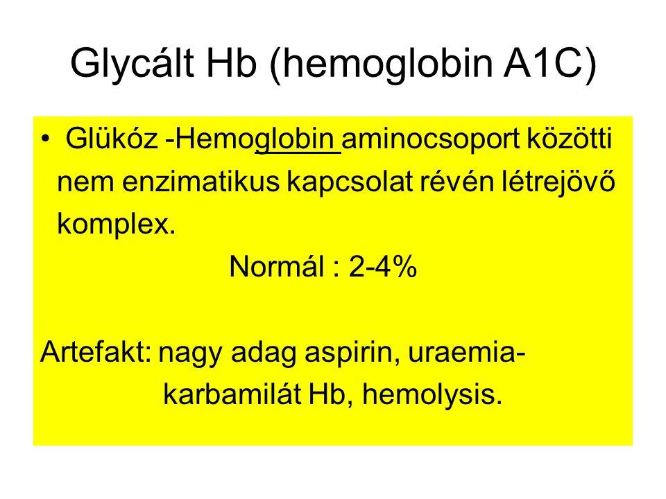 Glycált Hb (hemoglobin A1C) Glükóz -Hemoglobin aminocsoport közötti nem enzimatikus kapcsolat révén létrejövő komplex.