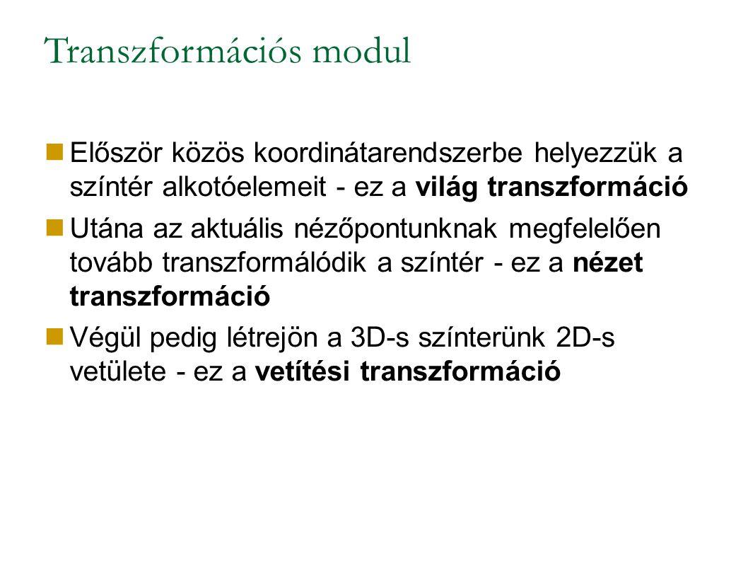 Transzformációs modul Először közös koordinátarendszerbe helyezzük a színtér alkotóelemeit - ez a világ transzformáció Utána az aktuális nézőpontunknak megfelelően tovább transzformálódik a színtér - ez a nézet transzformáció Végül pedig létrejön a 3D-s színterünk 2D-s vetülete - ez a vetítési transzformáció