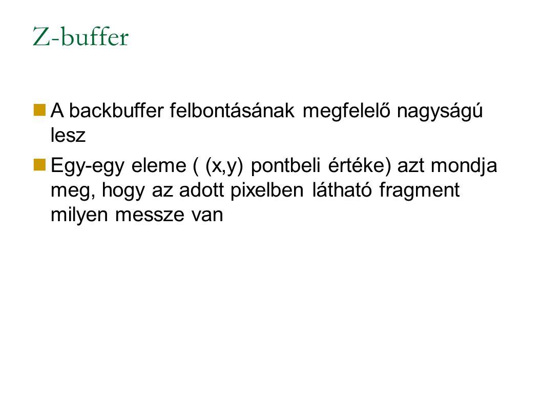 Z-buffer A backbuffer felbontásának megfelelő nagyságú lesz Egy-egy eleme ( (x,y) pontbeli értéke) azt mondja meg, hogy az adott pixelben látható fragment milyen messze van
