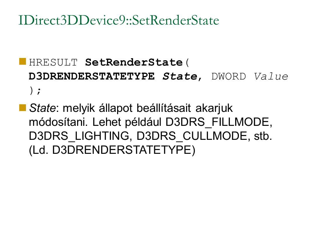 IDirect3DDevice9::SetRenderState HRESULT SetRenderState( D3DRENDERSTATETYPE State, DWORD Value ); State: melyik állapot beállításait akarjuk módosítani.