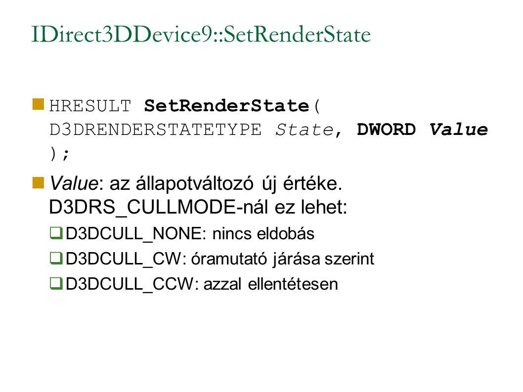 IDirect3DDevice9::SetRenderState HRESULT SetRenderState( D3DRENDERSTATETYPE State, DWORD Value ); Value: az állapotváltozó új értéke.