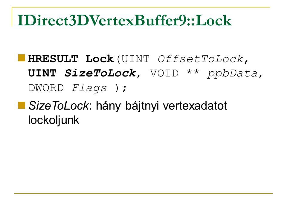IDirect3DVertexBuffer9::Lock HRESULT Lock(UINT OffsetToLock, UINT SizeToLock, VOID ** ppbData, DWORD Flags ); SizeToLock: hány bájtnyi vertexadatot lockoljunk