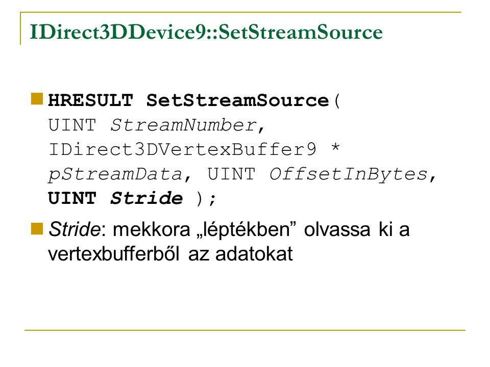 "IDirect3DDevice9::SetStreamSource HRESULT SetStreamSource( UINT StreamNumber, IDirect3DVertexBuffer9 * pStreamData, UINT OffsetInBytes, UINT Stride ); Stride: mekkora ""léptékben olvassa ki a vertexbufferből az adatokat"