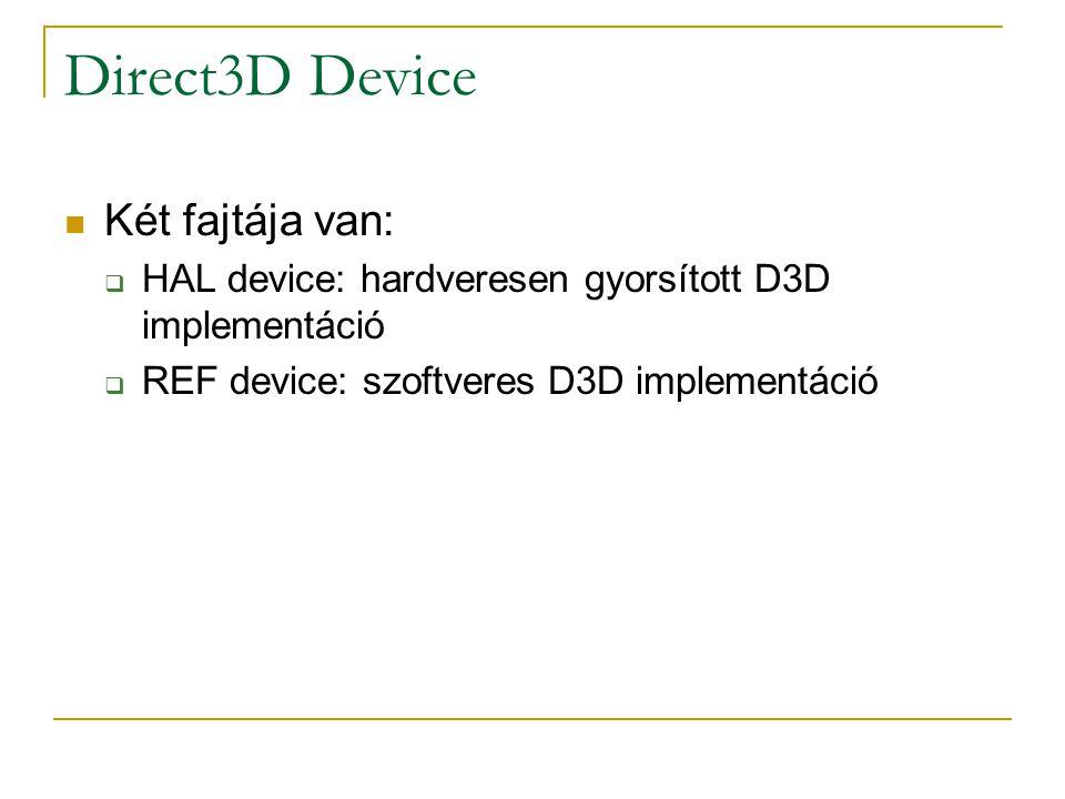 Direct3D Device Két fajtája van:  HAL device: hardveresen gyorsított D3D implementáció  REF device: szoftveres D3D implementáció