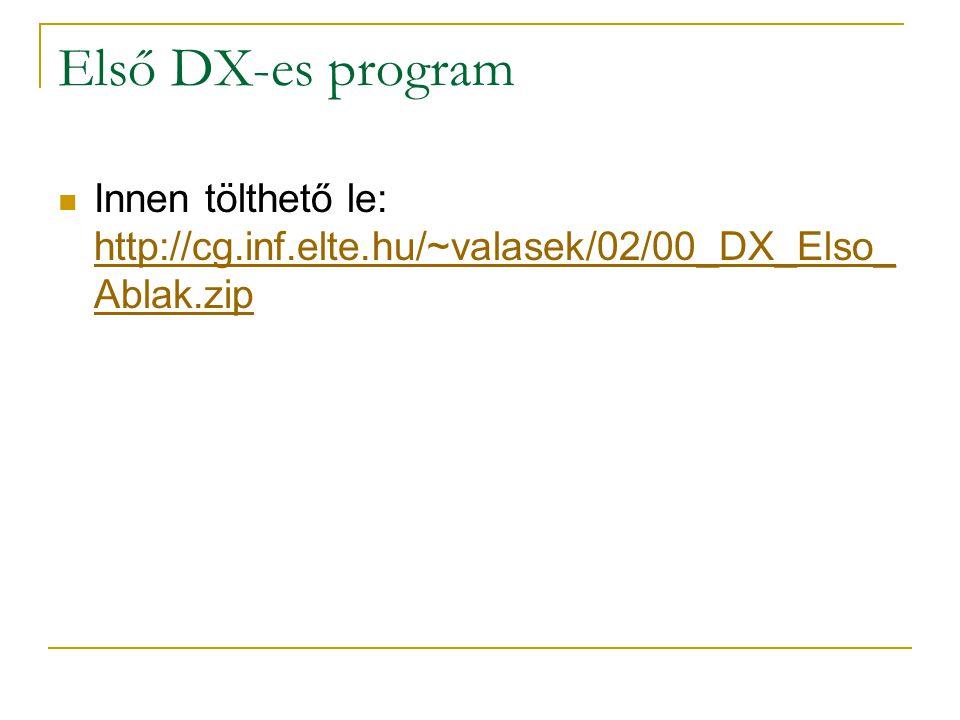 Első DX-es program Innen tölthető le: http://cg.inf.elte.hu/~valasek/02/00_DX_Elso_ Ablak.zip http://cg.inf.elte.hu/~valasek/02/00_DX_Elso_ Ablak.zip
