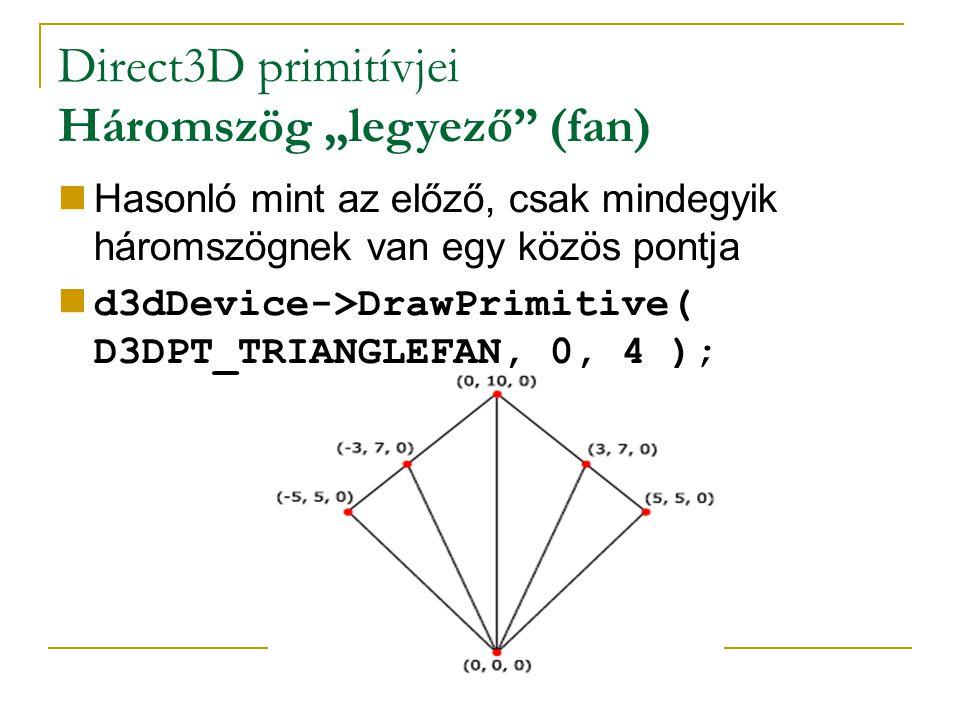 """Direct3D primitívjei Háromszög """"legyező (fan) Hasonló mint az előző, csak mindegyik háromszögnek van egy közös pontja d3dDevice->DrawPrimitive( D3DPT_TRIANGLEFAN, 0, 4 );"""