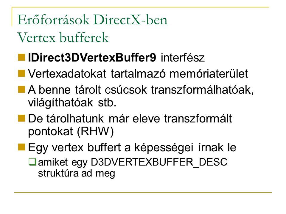 Erőforrások DirectX-ben Vertex bufferek IDirect3DVertexBuffer9 interfész Vertexadatokat tartalmazó memóriaterület A benne tárolt csúcsok transzformálhatóak, világíthatóak stb.