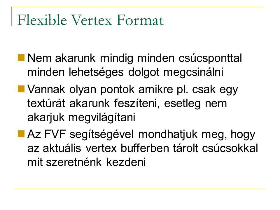 Flexible Vertex Format Nem akarunk mindig minden csúcsponttal minden lehetséges dolgot megcsinálni Vannak olyan pontok amikre pl.