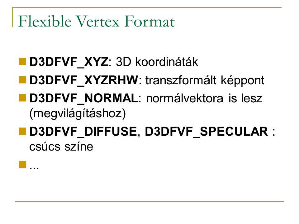 Flexible Vertex Format D3DFVF_XYZ: 3D koordináták D3DFVF_XYZRHW: transzformált képpont D3DFVF_NORMAL: normálvektora is lesz (megvilágításhoz) D3DFVF_DIFFUSE, D3DFVF_SPECULAR : csúcs színe...