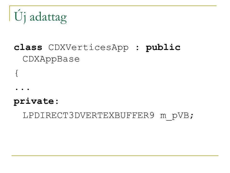 Új adattag class CDXVerticesApp : public CDXAppBase {... private: LPDIRECT3DVERTEXBUFFER9 m_pVB;