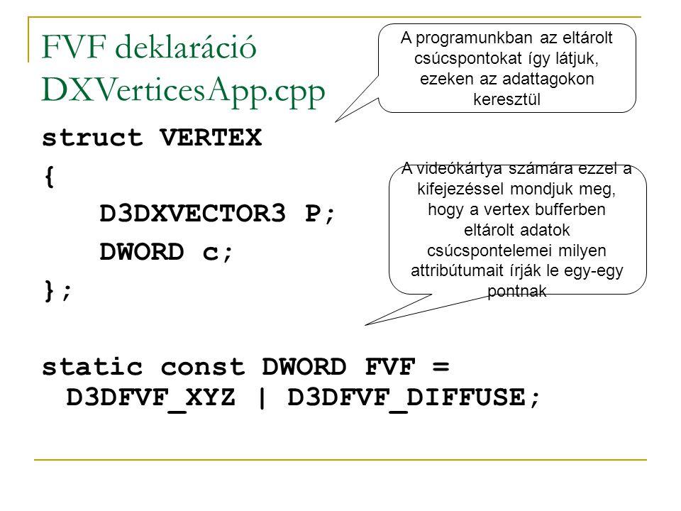 FVF deklaráció DXVerticesApp.cpp struct VERTEX { D3DXVECTOR3 P; DWORD c; }; static const DWORD FVF = D3DFVF_XYZ | D3DFVF_DIFFUSE; A programunkban az eltárolt csúcspontokat így látjuk, ezeken az adattagokon keresztül A videókártya számára ezzel a kifejezéssel mondjuk meg, hogy a vertex bufferben eltárolt adatok csúcspontelemei milyen attribútumait írják le egy-egy pontnak
