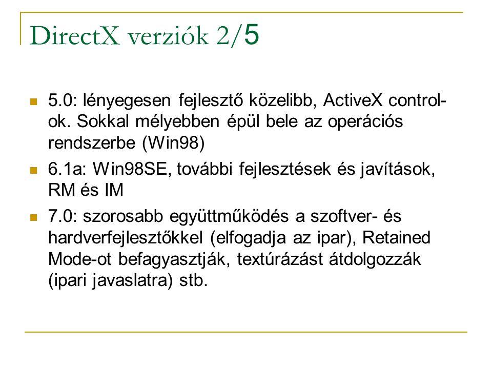 DirectX verziók 2/ 5 5.0: lényegesen fejlesztő közelibb, ActiveX control- ok.