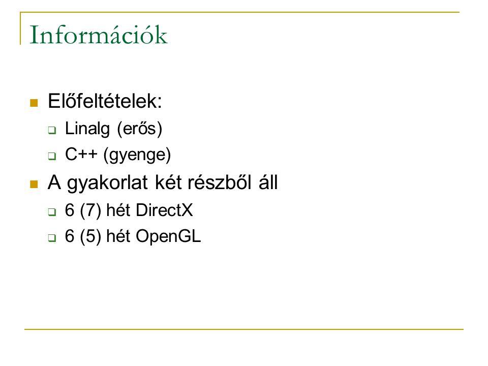 Információk Előfeltételek:  Linalg (erős)  C++ (gyenge) A gyakorlat két részből áll  6 (7) hét DirectX  6 (5) hét OpenGL
